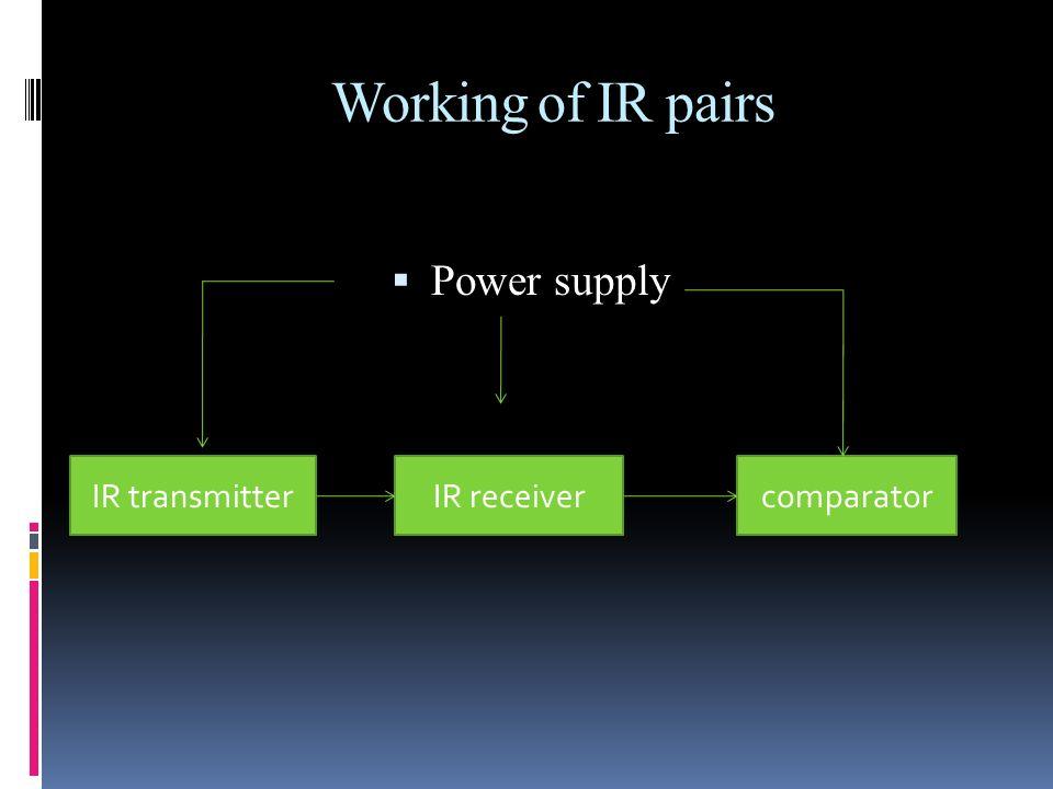 Working of IR pairs Power supply IR transmitterIR receivercomparator