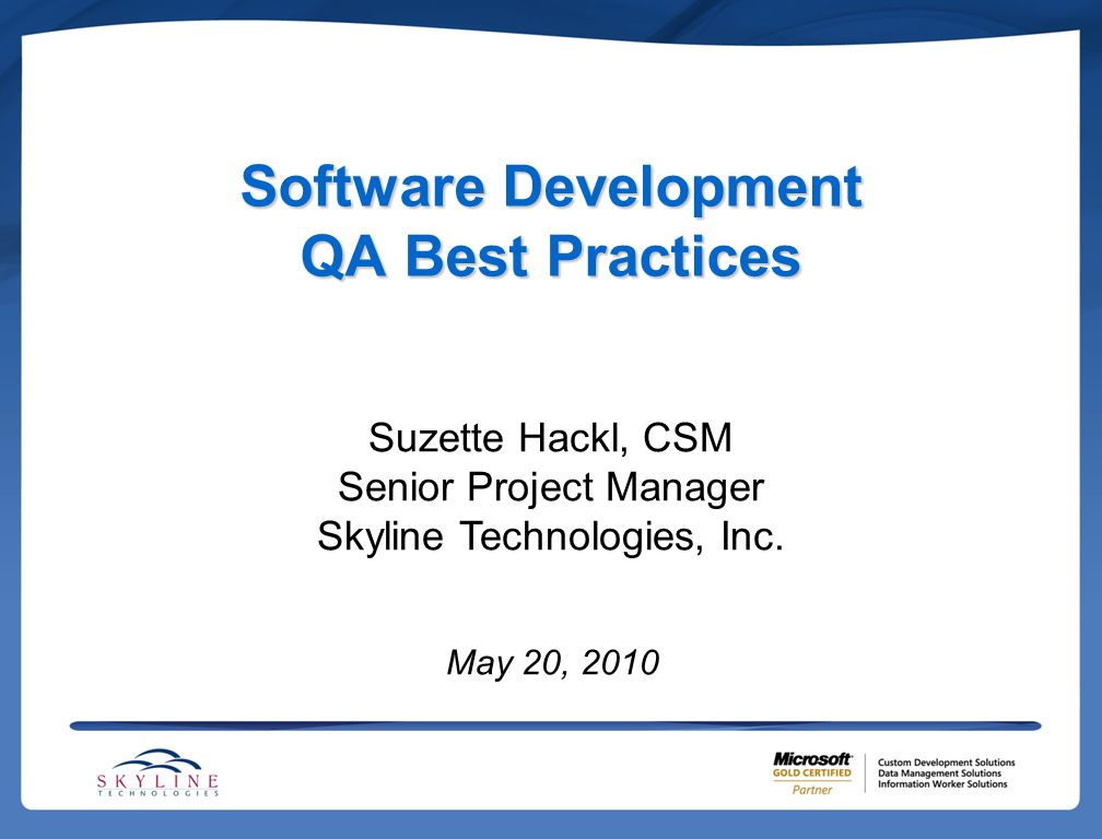 Agenda Definition of Best PracticesDefinition of Best Practices Software Quality Assurance as it relates to: –Process –People –Technology Application to SCRUM Questions?