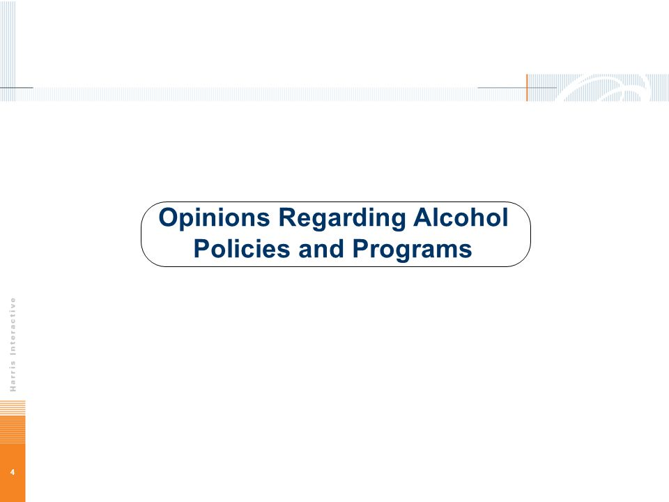 4 Opinions Regarding Alcohol Policies and Programs