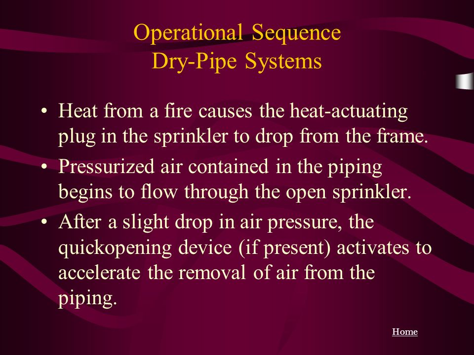 Operational Sequence Dry-Pipe Systems Heat from a fire causes the heat-actuating plug in the sprinkler to drop from the frame. Pressurized air contain