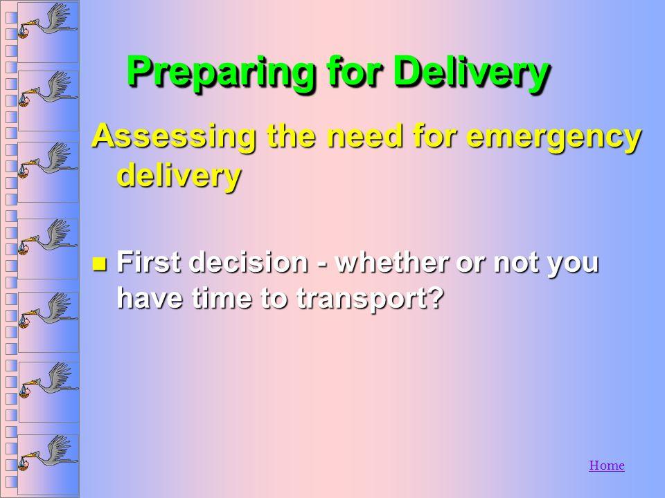 HomeTreatmentTreatment n Initial assessment n O 2 n Place on left side n Control external bleeding n Transport