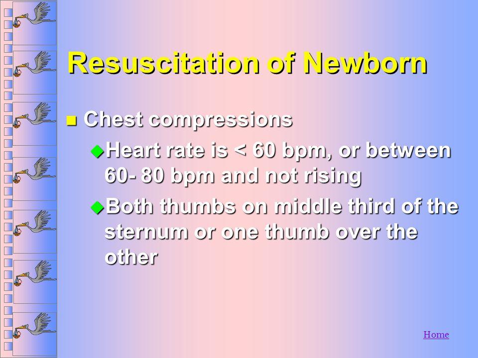 Home Resuscitation of Newborn n Assessing the baby u Respirations u Pulse n Artificial Ventilation u Use BVM u 40- 60 breaths per minute