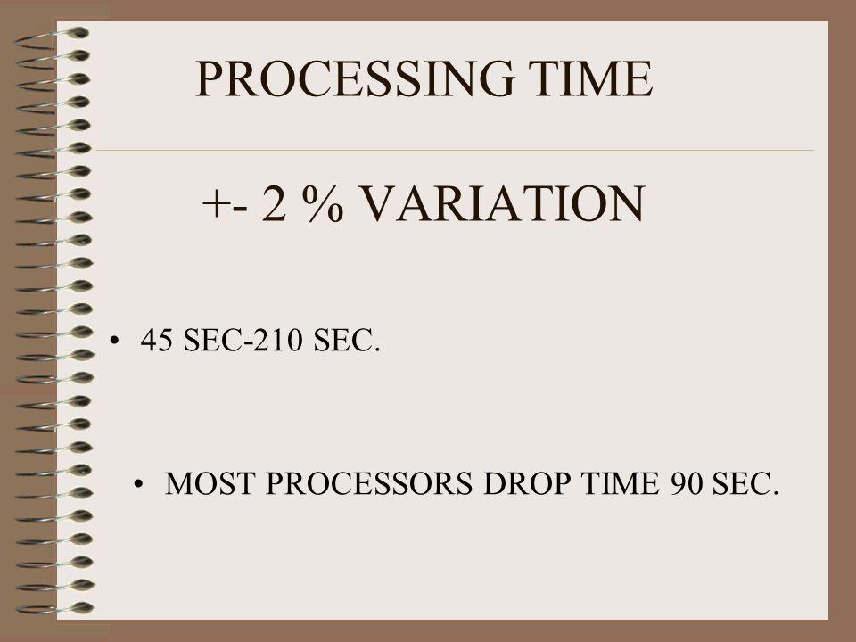 PROCESSING TIME +- 2 % VARIATION 45 SEC-210 SEC. MOST PROCESSORS DROP TIME 90 SEC.