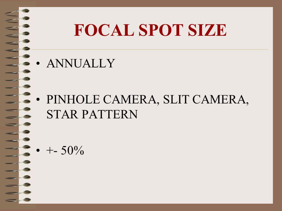 FOCAL SPOT SIZE ANNUALLY PINHOLE CAMERA, SLIT CAMERA, STAR PATTERN +- 50%