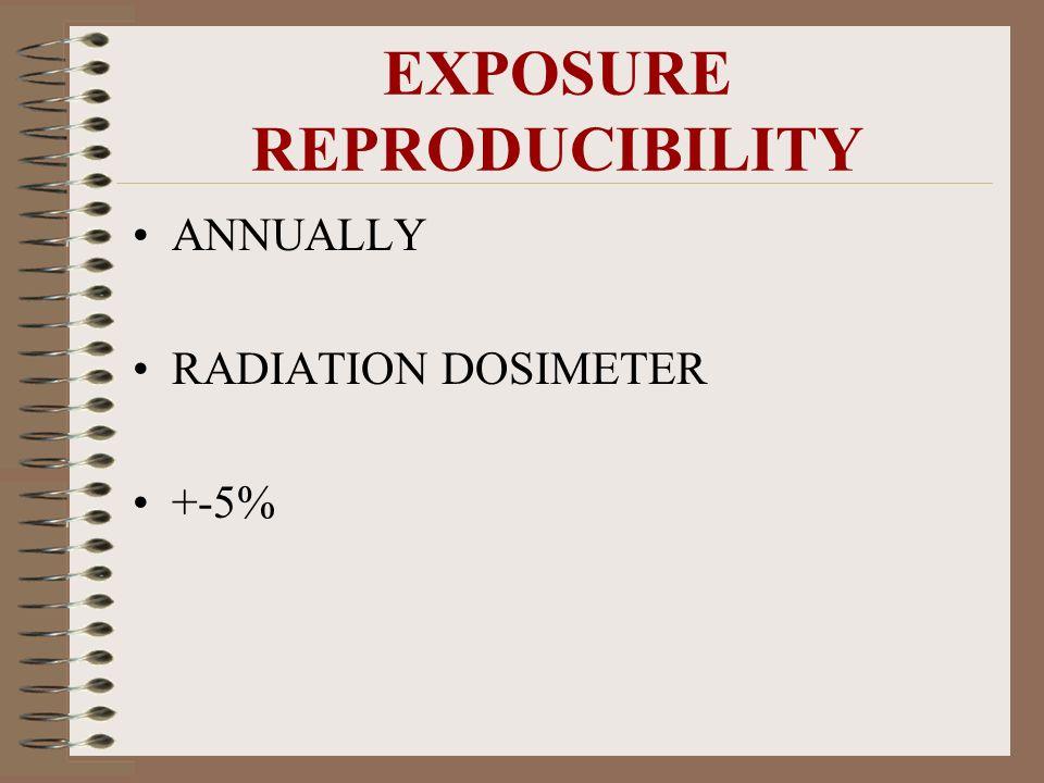 EXPOSURE REPRODUCIBILITY ANNUALLY RADIATION DOSIMETER +-5%