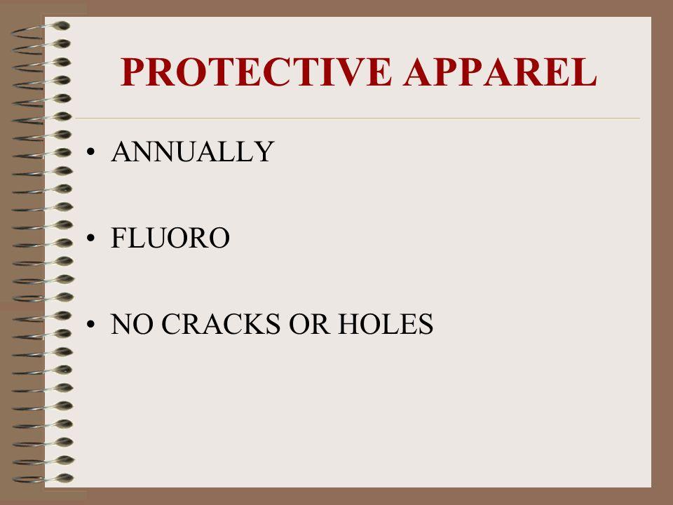 PROTECTIVE APPAREL ANNUALLY FLUORO NO CRACKS OR HOLES