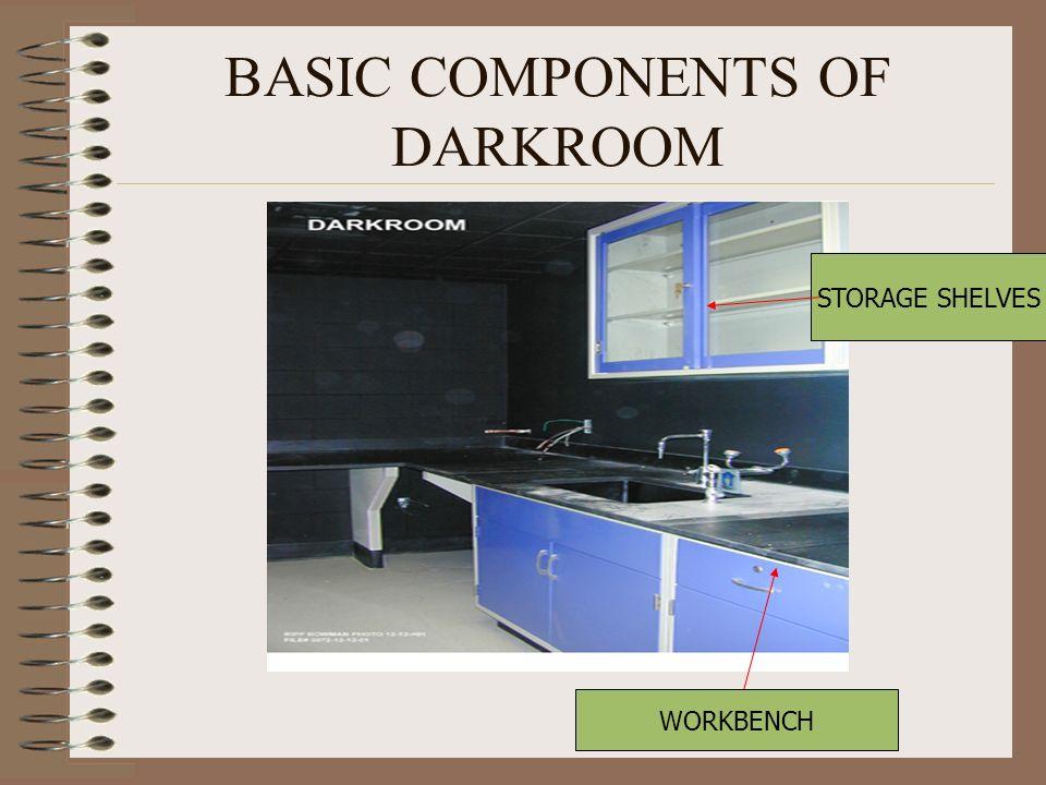 BASIC COMPONENTS OF DARKROOM STORAGE SHELVES WORKBENCH