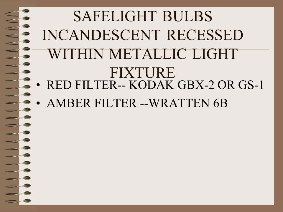 SAFELIGHT BULBS INCANDESCENT RECESSED WITHIN METALLIC LIGHT FIXTURE RED FILTER-- KODAK GBX-2 OR GS-1 AMBER FILTER --WRATTEN 6B
