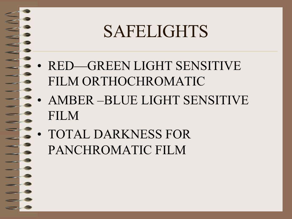 SAFELIGHTS REDGREEN LIGHT SENSITIVE FILM ORTHOCHROMATIC AMBER –BLUE LIGHT SENSITIVE FILM TOTAL DARKNESS FOR PANCHROMATIC FILM