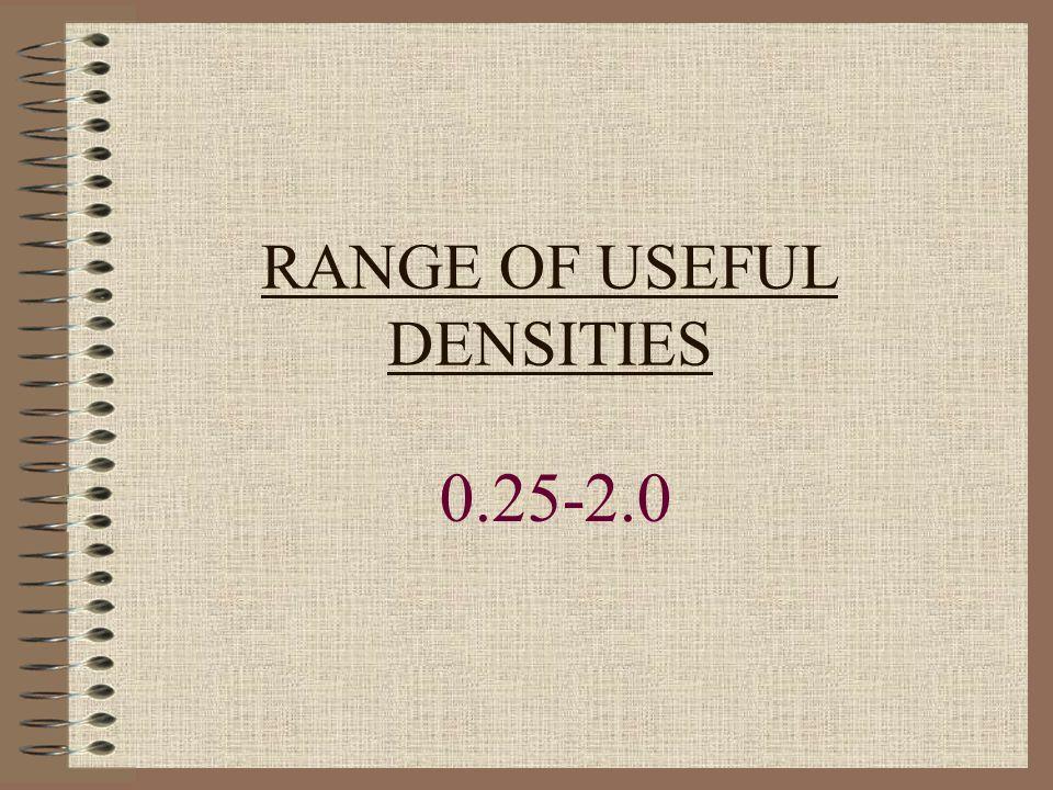 RANGE OF USEFUL DENSITIES 0.25-2.0