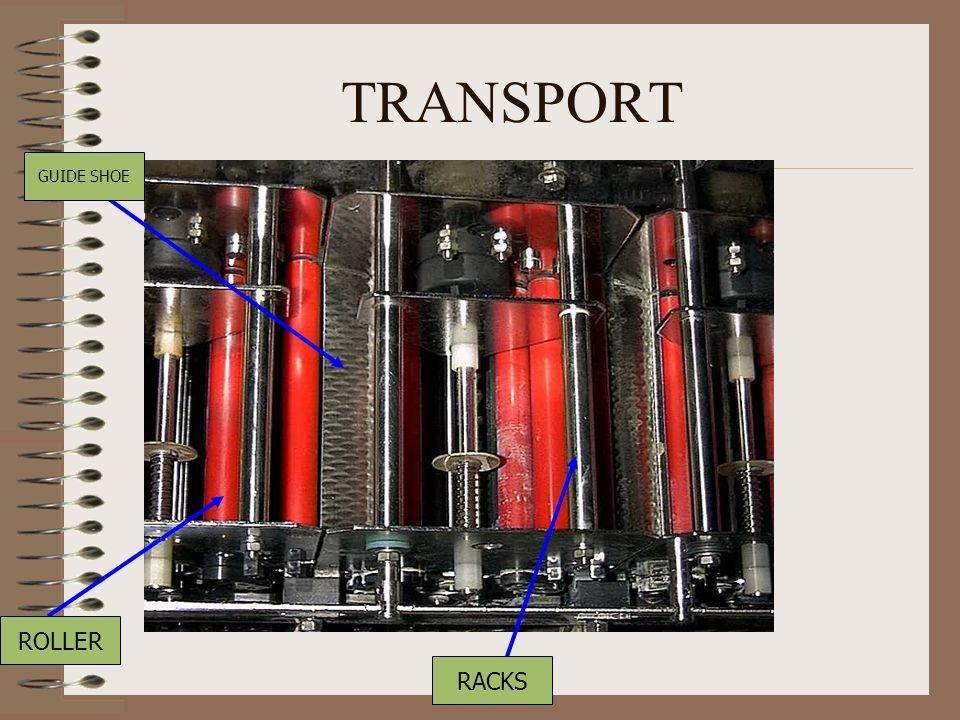 TRANSPORT ROLLER GUIDE SHOE RACKS