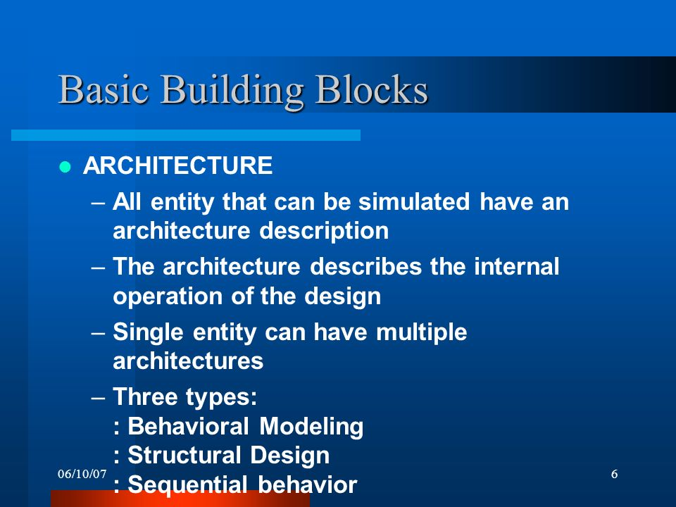 06/10/076 Basic Building Blocks ARCHITECTURE –All entity that can be simulated have an architecture description –The architecture describes the internal operation of the design –Single entity can have multiple architectures –Three types: : Behavioral Modeling : Structural Design : Sequential behavior