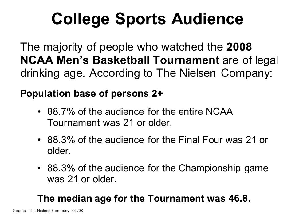 College Sports Audience The majority of people who watched the 2008 NCAA Mens Basketball Tournament are of legal drinking age.