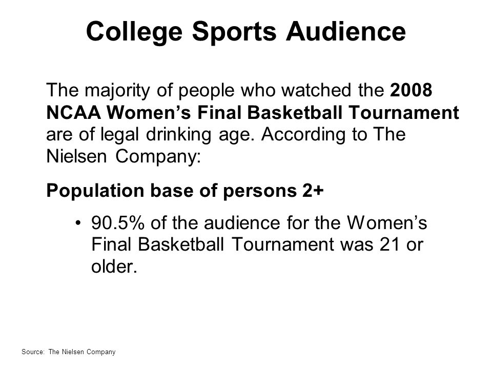 College Sports Audience The majority of people who watched the 2008 NCAA Womens Final Basketball Tournament are of legal drinking age.