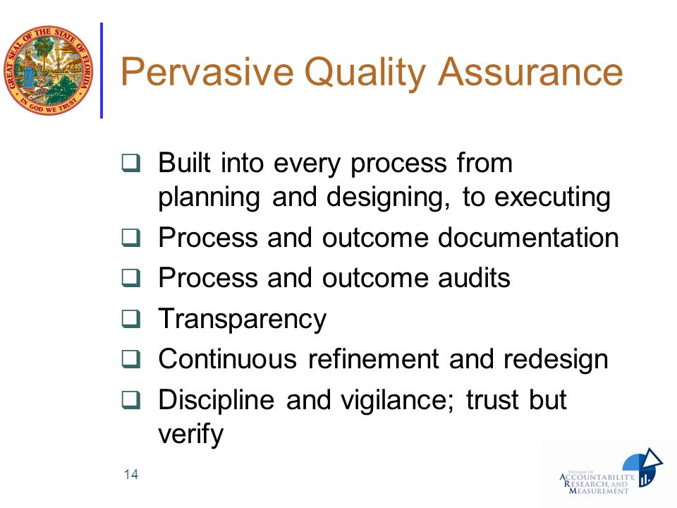 Pervasive Quality Assurance Built into every process from planning and designing, to executing Process and outcome documentation Process and outcome a
