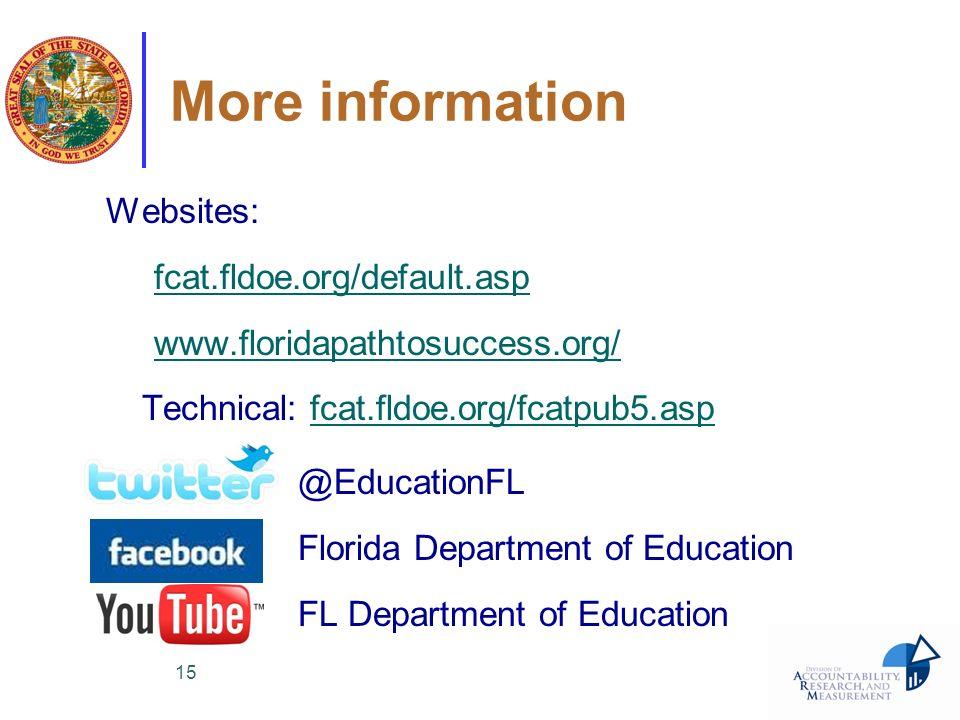 15 More information Websites: fcat.fldoe.org/default.asp www.floridapathtosuccess.org/ Technical: fcat.fldoe.org/fcatpub5.aspfcat.fldoe.org/fcatpub5.a