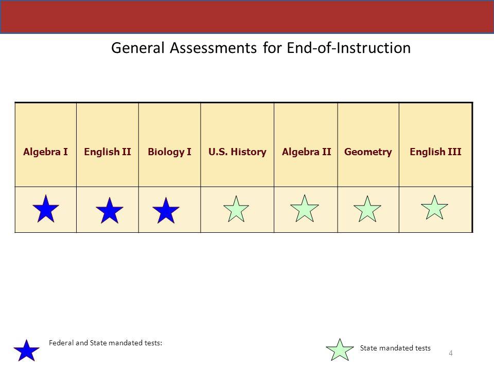 General Assessments for End-of-Instruction Algebra I English II Biology I U.S. History Algebra II Geometry English III 4 Federal and State mandated te