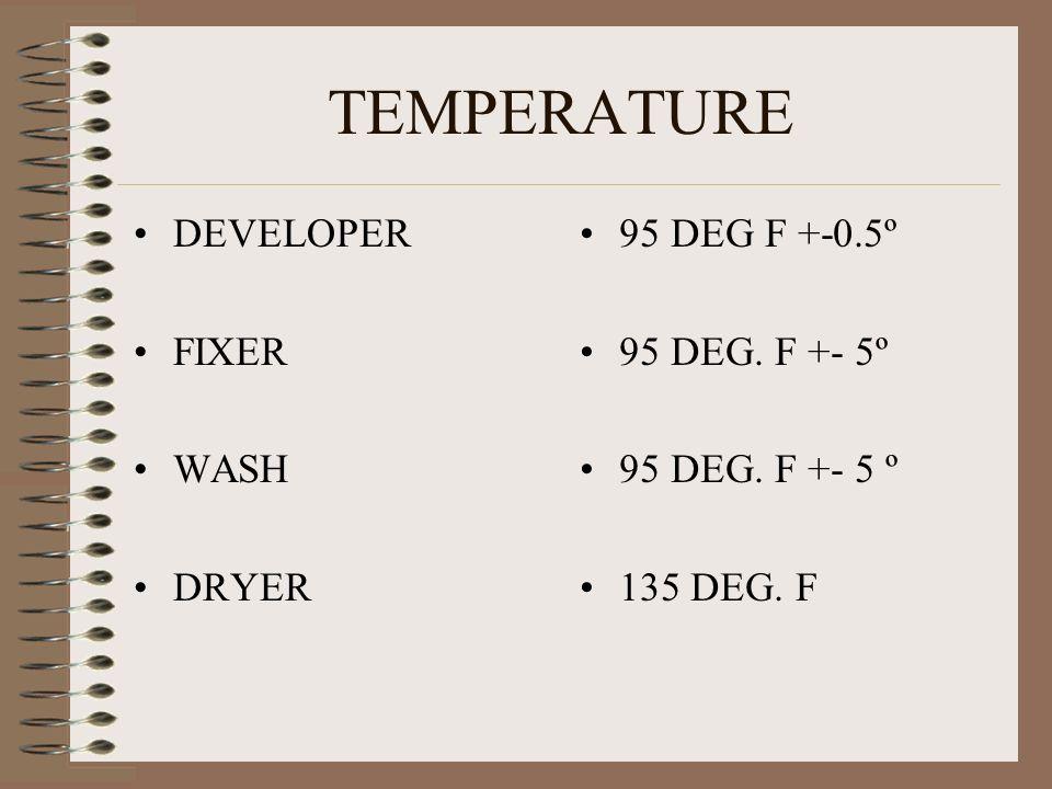 TEMPERATURE DEVELOPER FIXER WASH DRYER 95 DEG F +-0.5º 95 DEG. F +- 5º 135 DEG. F