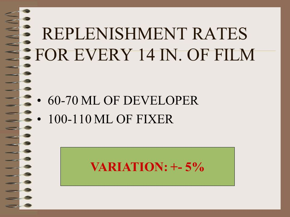REPLENISHMENT RATES FOR EVERY 14 IN. OF FILM 60-70 ML OF DEVELOPER 100-110 ML OF FIXER VARIATION: +- 5%