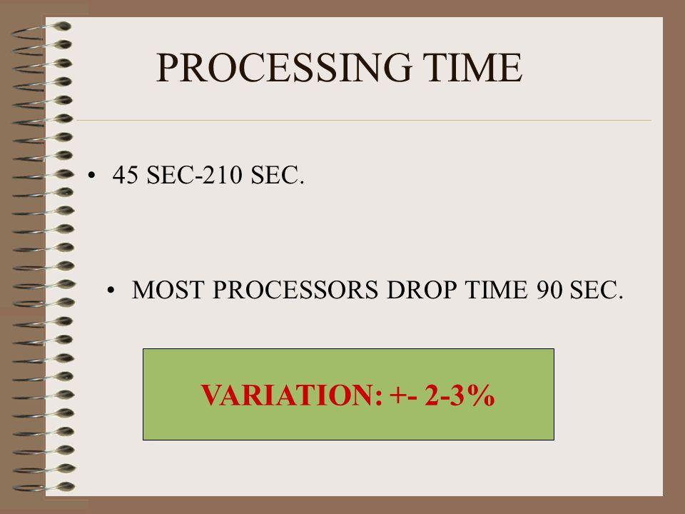 PROCESSING TIME 45 SEC-210 SEC. MOST PROCESSORS DROP TIME 90 SEC. VARIATION: +- 2-3%