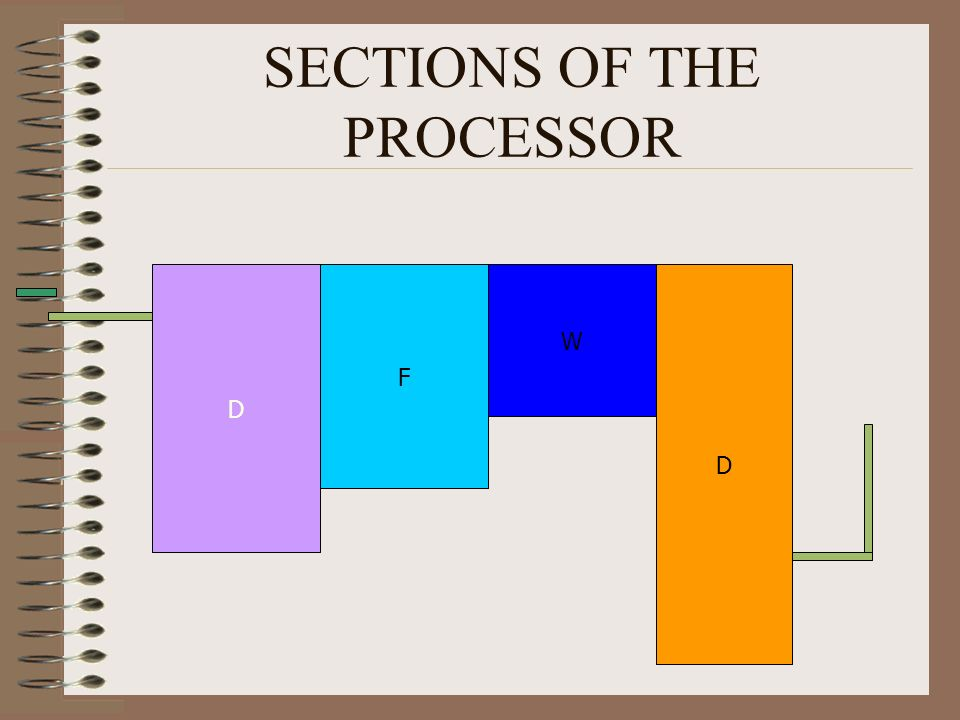 SECTIONS OF THE PROCESSOR D F W D