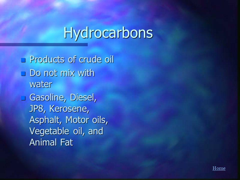 HomeHydrocarbons n Products of crude oil n Do not mix with water n Gasoline, Diesel, JP8, Kerosene, Asphalt, Motor oils, Vegetable oil, and Animal Fat