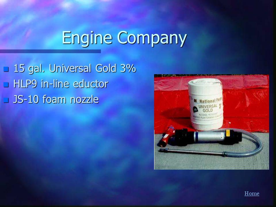 Home Engine Company n 15 gal. Universal Gold 3% n HLP9 in-line eductor n JS-10 foam nozzle