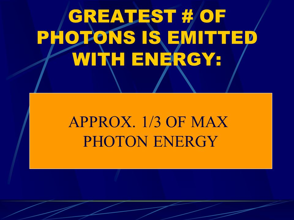 GREATEST # OF PHOTONS IS EMITTED WITH ENERGY: APPROX. 1/3 OF MAX PHOTON ENERGY