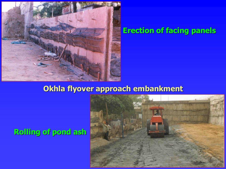 Erection of facing panels Rolling of pond ash