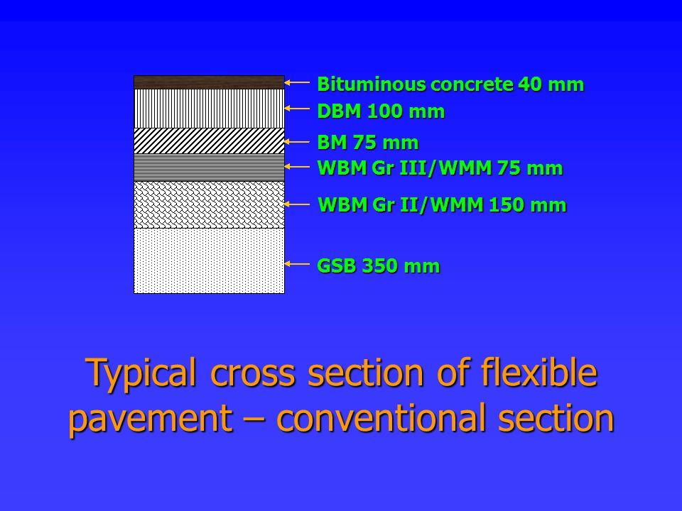WBM Gr II/WMM 150 mm WBM Gr III/WMM 75 mm GSB 350 mm BM 75 mm DBM 100 mm Bituminous concrete 40 mm Typical cross section of flexible pavement – conven
