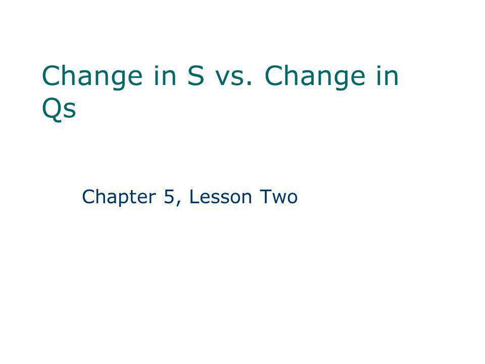 Change in S vs. Change in Qs Chapter 5, Lesson Two