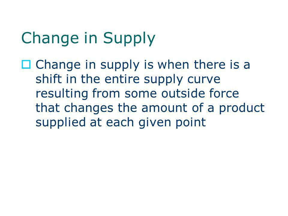 Change in Supply Change in supply is when there is a shift in the entire supply curve resulting from some outside force that changes the amount of a p