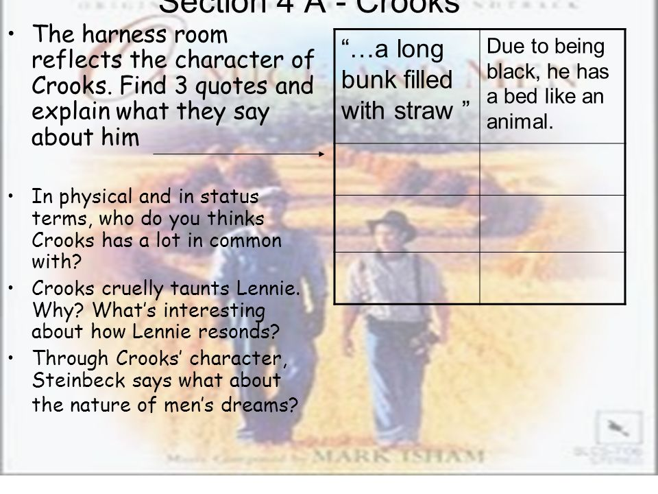 Section 4 A - Crooks The harness room reflects the character of Crooks. Find 3 quotes and explain what they say about him In physical and in status te
