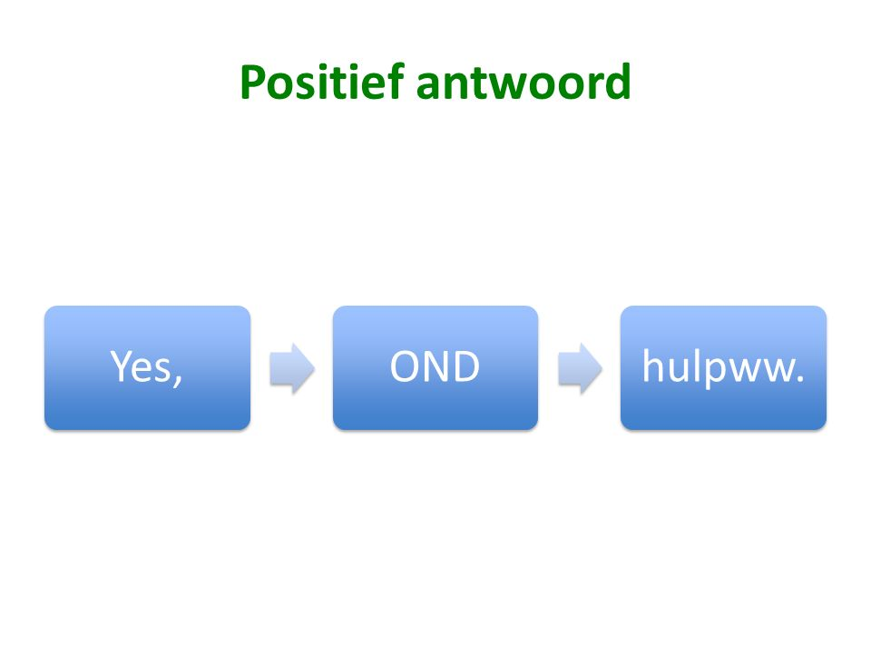 Positief antwoord Yes,ONDhulpww.