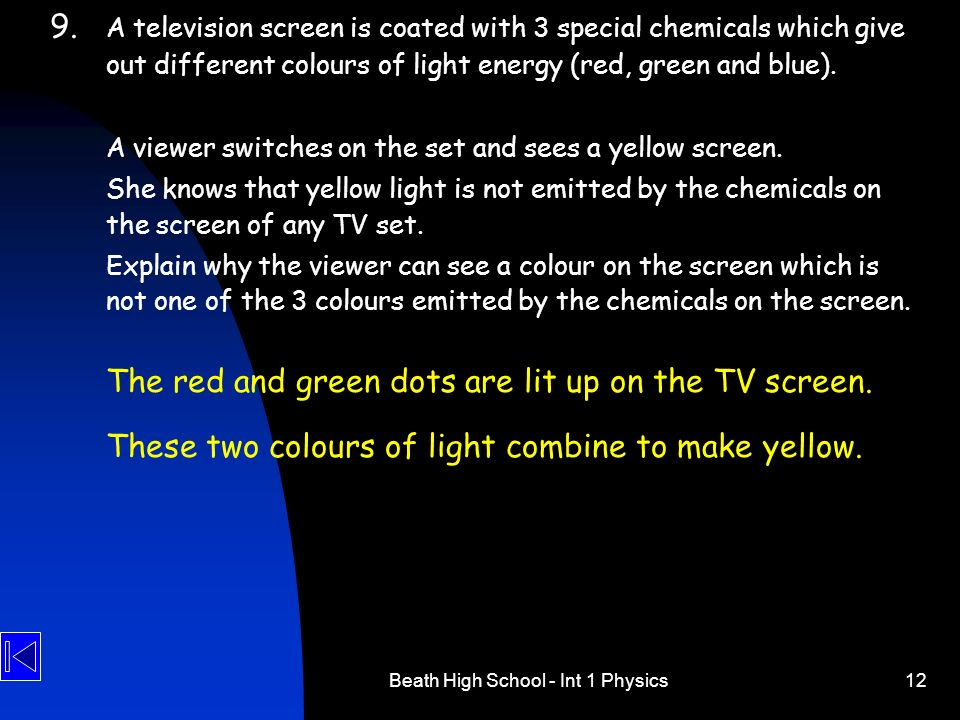 Beath High School - Int 1 Physics12 9. A television screen is coated with 3 special chemicals which give out different colours of light energy (red, g