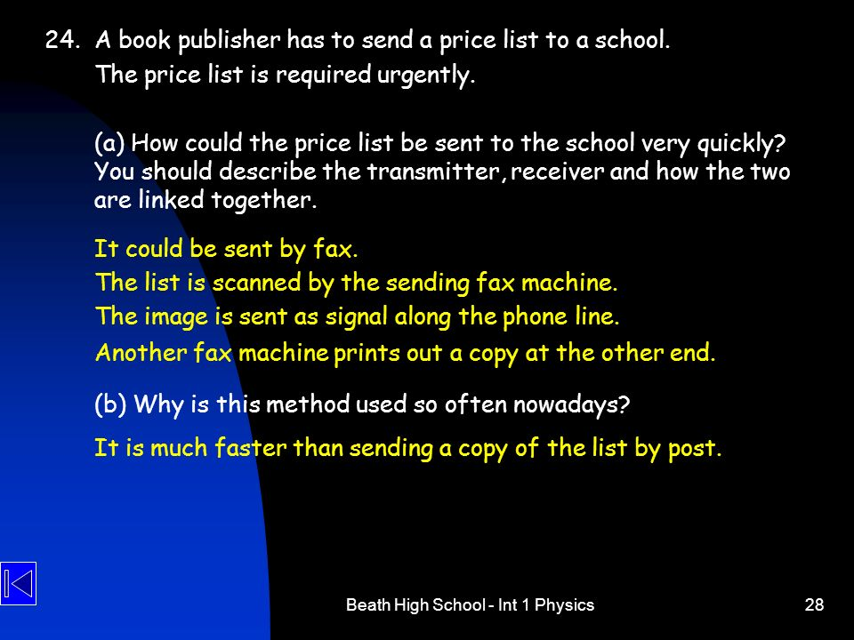 Beath High School - Int 1 Physics28 24.A book publisher has to send a price list to a school. The price list is required urgently. (a) How could the p