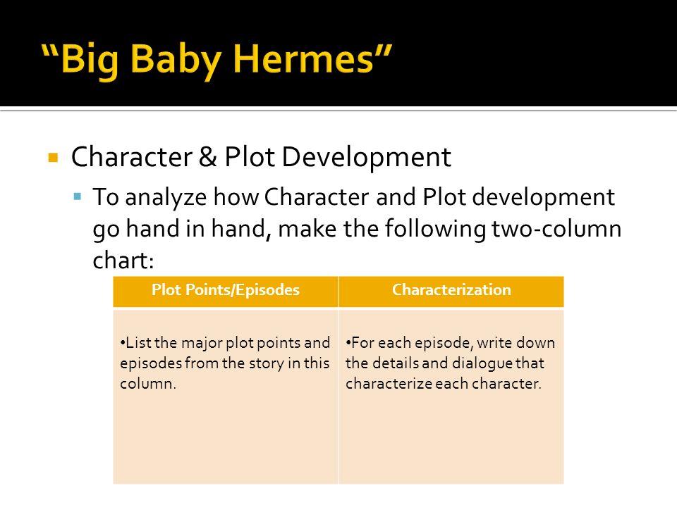 Character & Plot Development To analyze how Character and Plot development go hand in hand, make the following two-column chart: Plot Points/EpisodesC