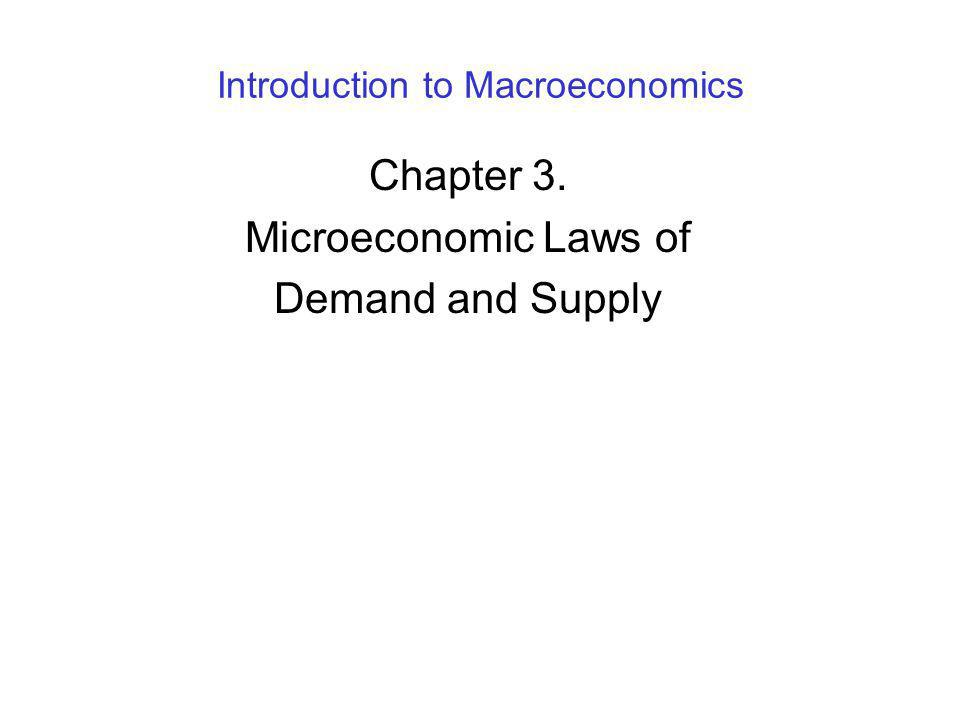 Introduction to Macroeconomics Chapter 3. Microeconomic Laws of Demand and Supply