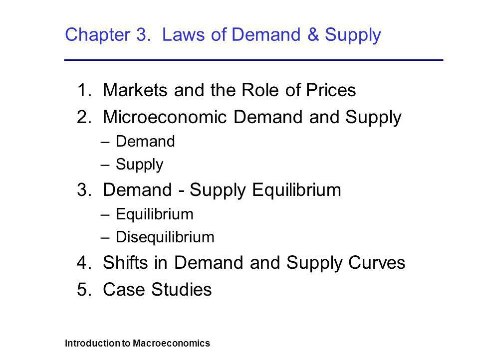 Introduction to Macroeconomics Chapter 3. Laws of Demand & Supply 1. Markets and the Role of Prices 2. Microeconomic Demand and Supply –Demand –Supply