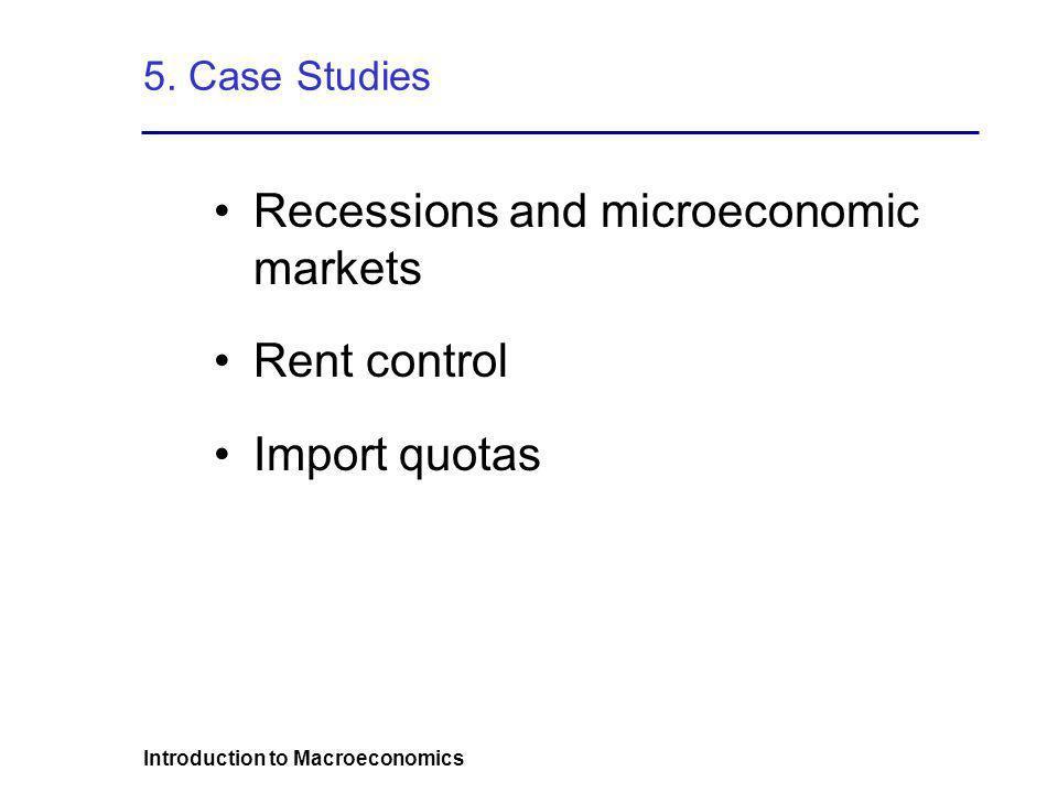 Introduction to Macroeconomics 5. Case Studies Recessions and microeconomic markets Rent control Import quotas