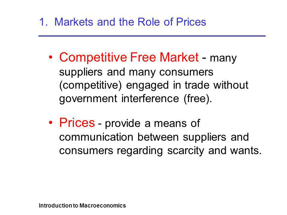 Introduction to Macroeconomics 1. Markets and the Role of Prices Competitive Free Market - many suppliers and many consumers (competitive) engaged in