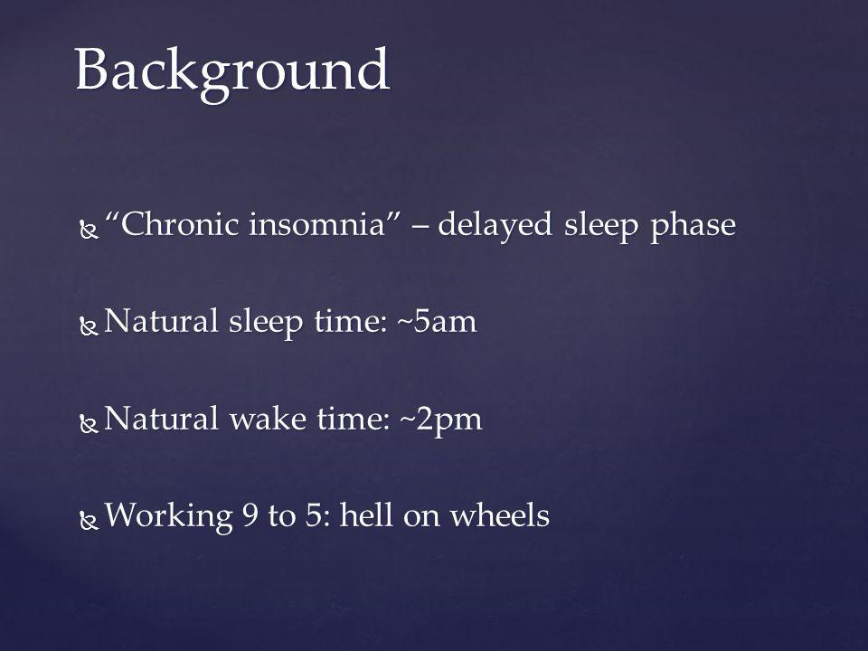 Chronic insomnia – delayed sleep phaseChronic insomnia – delayed sleep phase Natural sleep time: ~5am Natural sleep time: ~5am Natural wake time: ~2pm Natural wake time: ~2pm Working 9 to 5: hell on wheels Working 9 to 5: hell on wheels Background