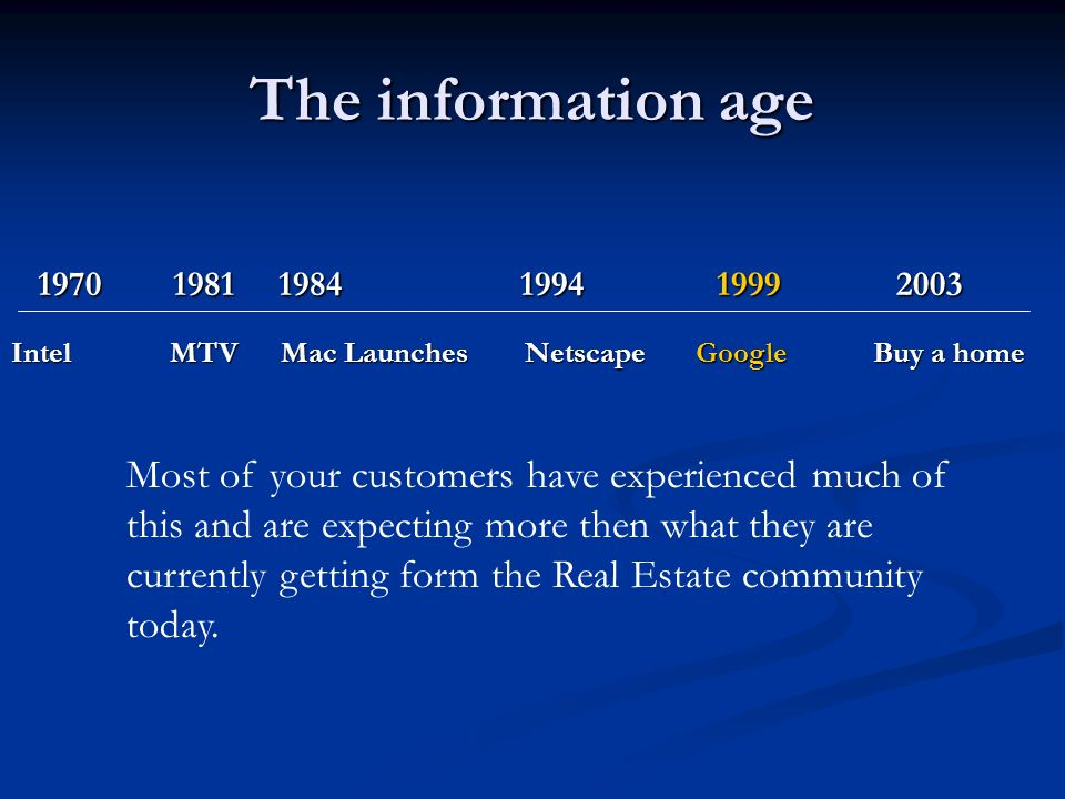 The information age Intel MTV Mac Launches Netscape Google Buy a home Most of your customers have experienced much of this and are expecting more then what they are currently getting form the Real Estate community today.