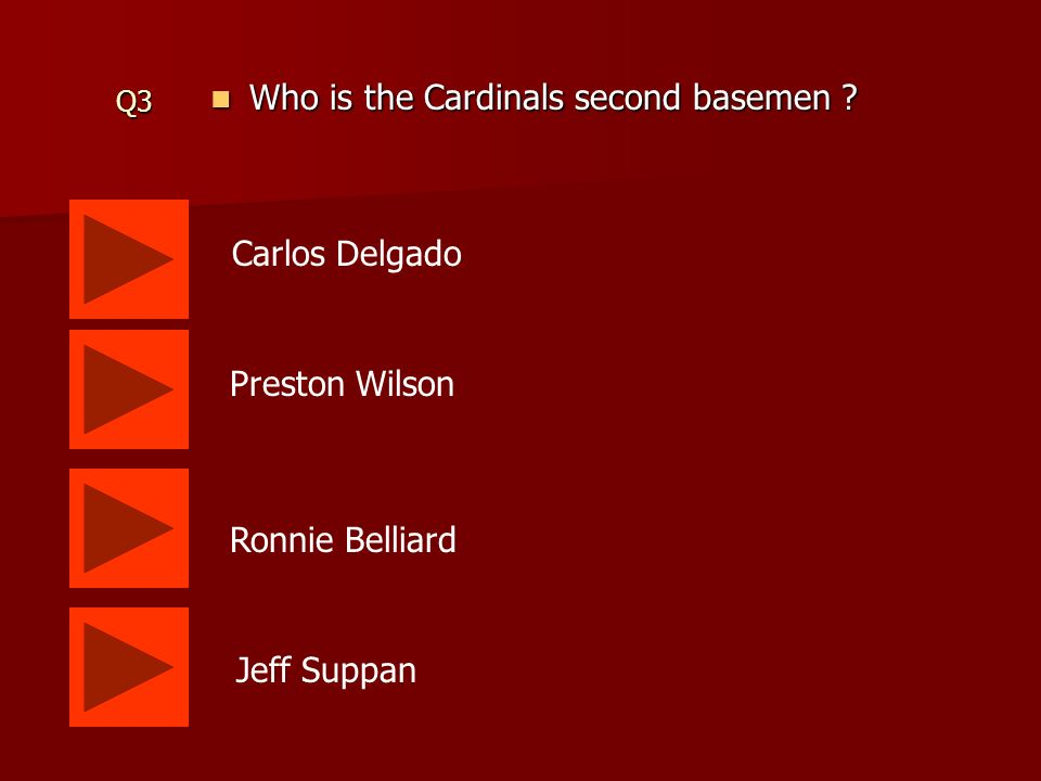 Q2 Who is the Cardinals center fielder . Who is the Cardinals center fielder .