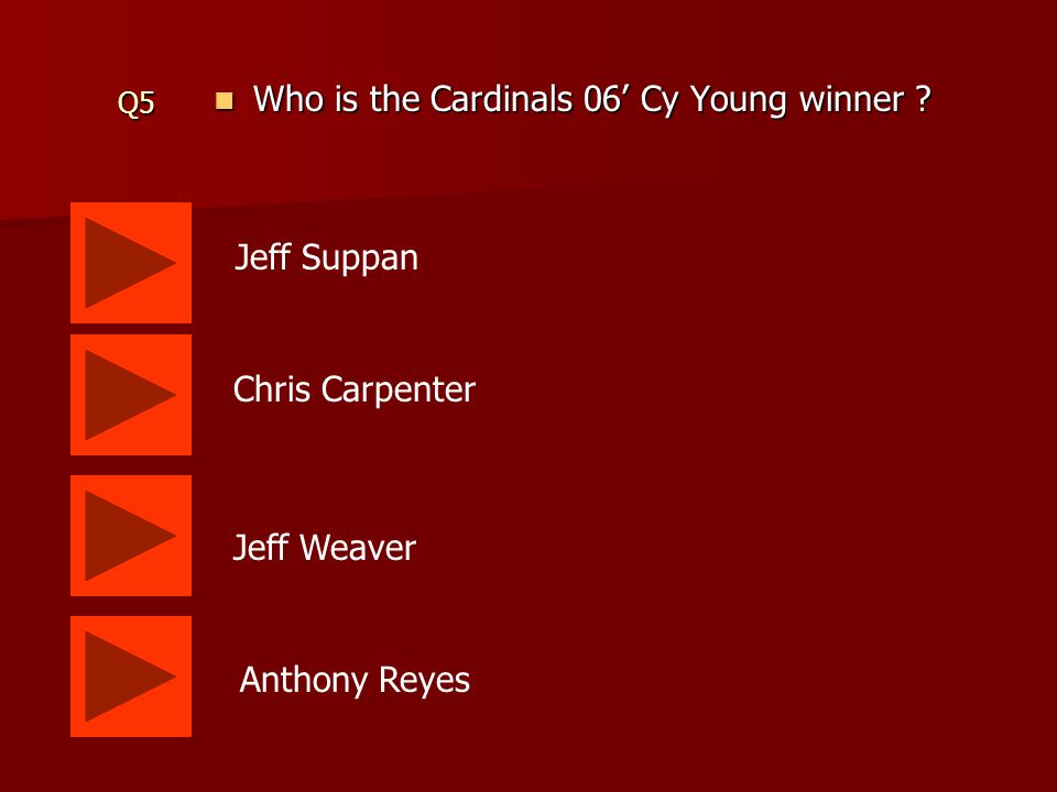 Q5 Who is the Cardinals 06 Cy Young winner .Who is the Cardinals 06 Cy Young winner .