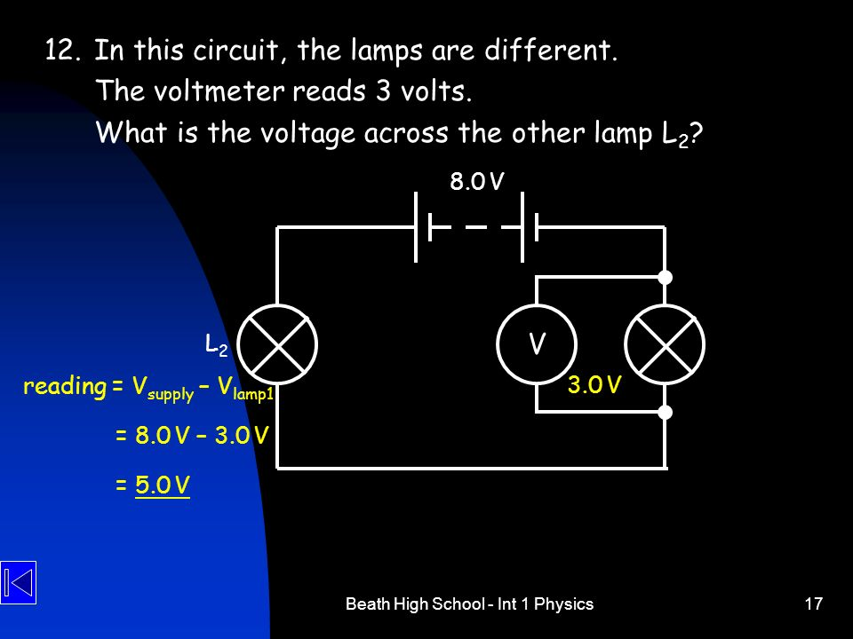 Beath High School - Int 1 Physics17 V 12.In this circuit, the lamps are different. The voltmeter reads 3 volts. What is the voltage across the other l