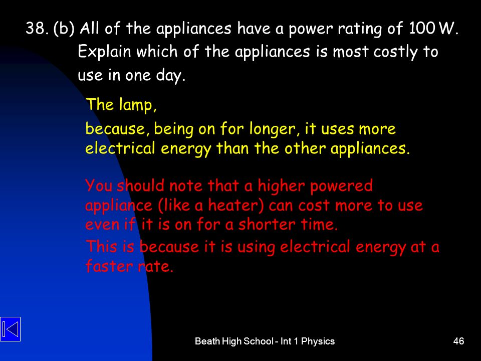 Beath High School - Int 1 Physics46 38. (b) All of the appliances have a power rating of 100 W. Explain which of the appliances is most costly to use