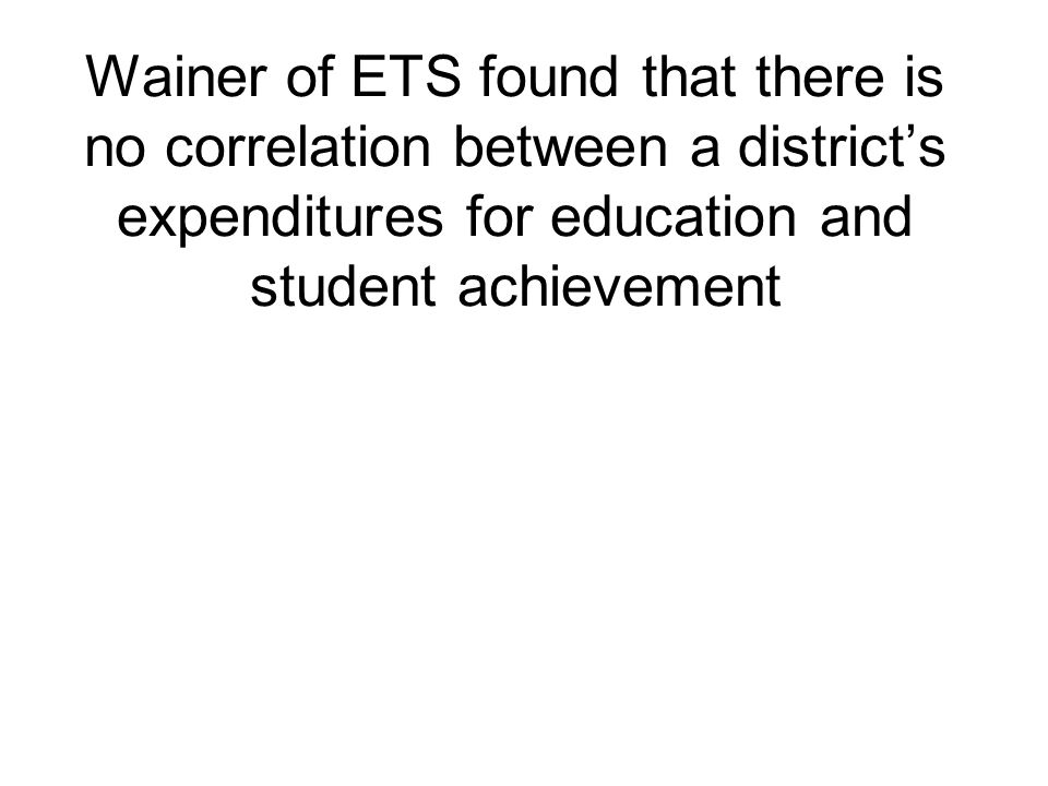 Wainer of ETS found that there is no correlation between a districts expenditures for education and student achievement