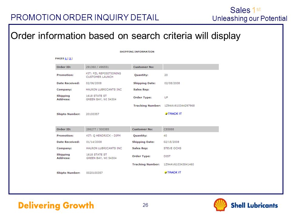 Sales1 st Unleashing our Potential 26 PROMOTION ORDER INQUIRY DETAIL Order information based on search criteria will display