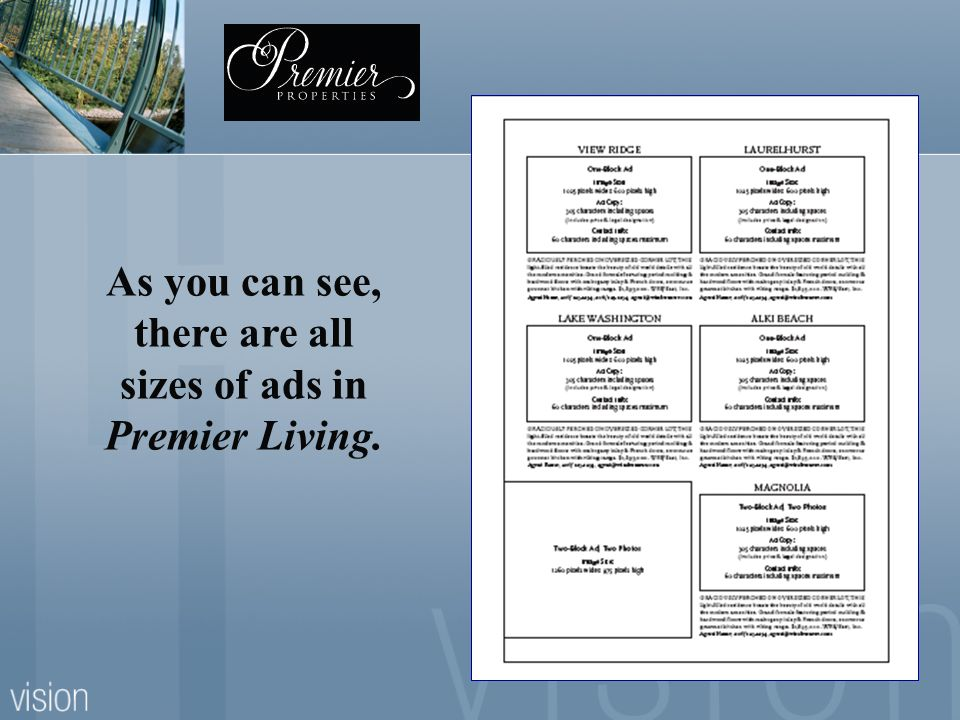 35 As you can see, there are all sizes of ads in Premier Living.